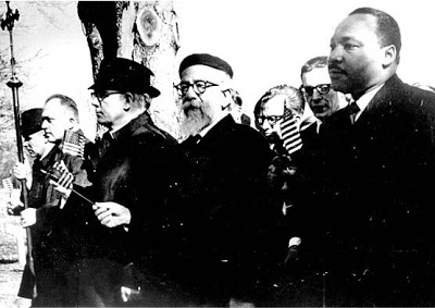 Jews like Rabbi Abraham Joshua Heschel (pictured above with the beard) marched with Martin Luther King Jr. on the road to civil rights. Rev.King marched with the Jews on the road to a secure Israel.