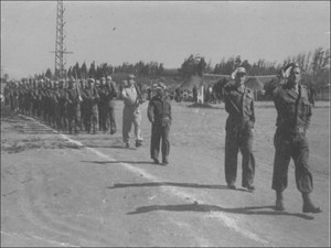 Lt. Yehuda Bielski leading his men on parade (Israel 1949)