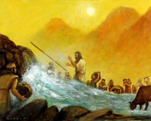 Moses and the Rock (2010), oil on canvas, 24x30 by Brian Shapiro.