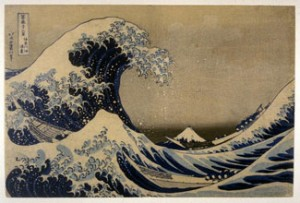 "Katsushika Hokusai. ""Cresting Wave Off the Coast of Kanagawa,"" or ""The Great Wave,"" from the series 36 Views of Mt. Fuji. Color Woodcut. C. 1831-1834."