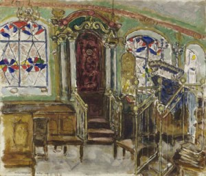 "Lot 15. Collection of Lillian and Jack Cottin. Marc Chagall. ""Synagogue in Vilna, the 'Kloyz' of the Vilna Gaon."" 1935. Oil on canvas. 24 7/8 by 29 1/4 in."