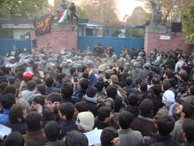 Protestors outside British Embassy, Tehran