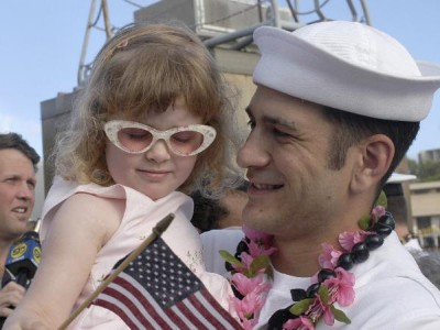 US Navy Sailor Returns Home from Operation Iraqi Freedom through Pearl Harbor
