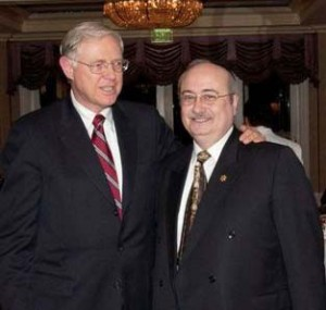 Los Angeles County Supervisor Michael D. Antonovich (left) congratulating Commissioner Howard Winkler.