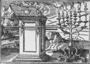 "Tobias Stimmer. ""The Altar of Incense and the Golden Lampstand ( Exod. 25, 30, 37 )."" 1576. Woodcut."