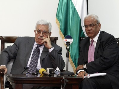 .PA President Mahmoud Abbas and negotiator Saeb Erekat