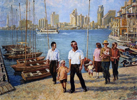 Jaffa Couples, oil on canvas by Venyamin Zaslavsky. Courtesy Chassidic Art Institute (not in exhibition)
