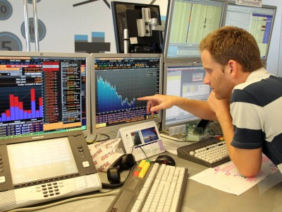 .Traders follow the Tel Aviv Stock Exchange.