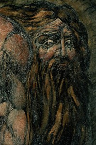 "William Blake. Detail of ""Nebuchadnezzar."" C. 1795. Monotype finished in black chalk, pen and watercolor, coated with gum or size. Museum of Fine Arts, Boston."