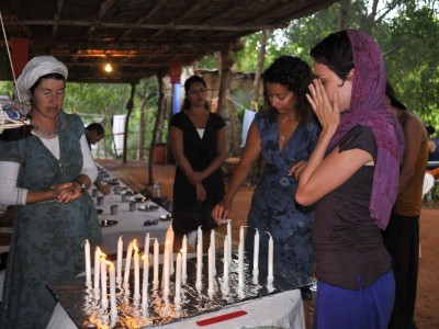 Jewish women lighting Shabbat candles