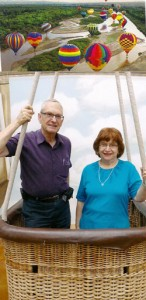 Dov and Barbara in a hot air balloon.