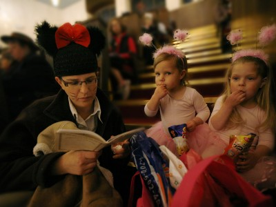 Jewish woman reading Megillat Esther on Purim