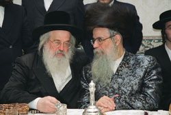 Munkatcher Rebbe (L) with his brother, the Dinover Rebbe.