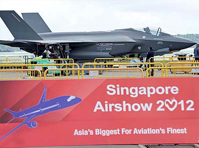 A Lockheed Martin F-35 Lightning II fighter jet at the Singapore Airshow in Singapore.