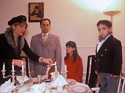 A Jewish family preparing for Shabbat