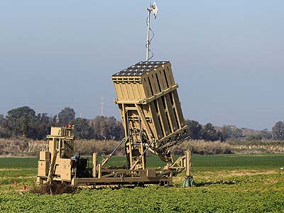 "An ""Iron Dome"" missile defense system outside Ashkelon."