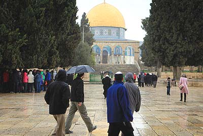 Jews walking on the outskirts of Temple Mount, March 4, 2012.