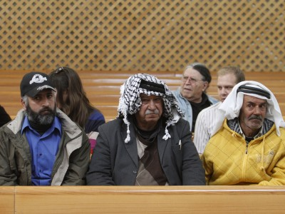 Arab spectators at the Israeli High Court's hearing on Peace Now's petition to immediately evict the residents of Migron.