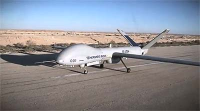 Elbit's Hermes 900 taking off.