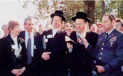 Ozerover Rebbe at cemetery dedication.