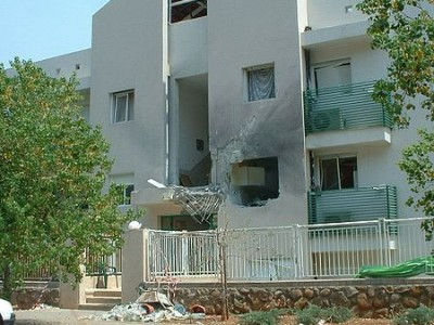 Rocket damage to a house in Kiryat Shmona