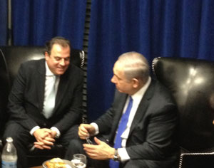 Robert Rechnitz (left) of Los Angeles meeting with Israeli Prime Minister Benjamin Netanyahu at the 2012 American Israel Public Affairs Committee (AIPAC) policy conference in Washington.