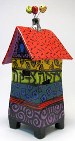 Mallory Serebrin Jacobs. Tzedakah Box—Fiesta. Height:11 inches.