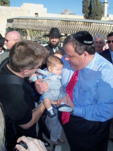 Gov. Christie holding baby Jack at the Kotel
