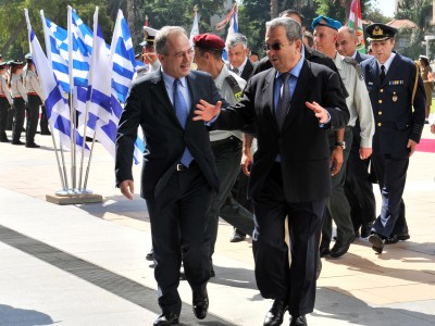 Greece Minister for National Defense, Panagiotis Beglitis meets with Israel's Defense Minister Ehud Barak
