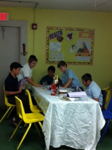 Achim Academy students hold model Seder.