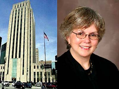 Judge Margaret Marrinan and the Ramsey County courthouse.
