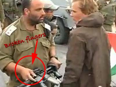 Lt.-Col. Shalom Eisner a moment before hitting the ISM agent provocateur who had broken two of his fingers.