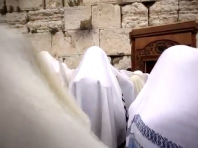 Kohanim giving the Jewish Priestly Blessing during the Passover Festival in Jerusalem