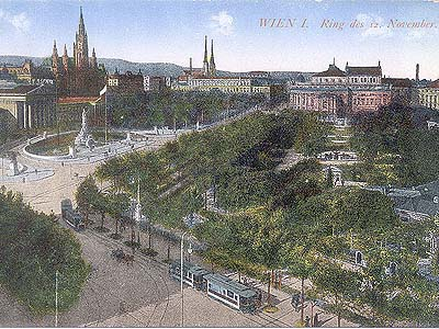 An ancient postcard depicting Dr. Karl-Lueger-Ring Avenue, perhaps painted by you-know-who…