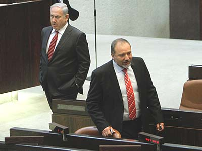 On their separate ways? Avigdor Lieberman (R) and Benjamin Netanyahu.