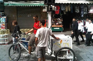 A Google Street View Trike in Jerusalem's busy Mahane Yehuda market in late March.