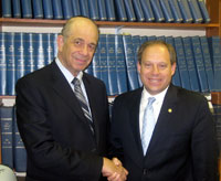 Assemblyman Lancman (right) meeting with Jerry Greenwald, managing editor of The Jewish Press, and the paper's editorial board.