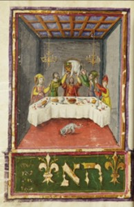"Mahzor; ""Lifting Seder Plate"" illuminated manuscript (ca. 1490s)."