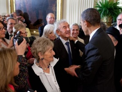 President Obama with Elie Wiesel at Jewish American Heritage Month Celebration, May 2011
