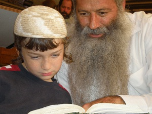 Father and son studying in Hevron