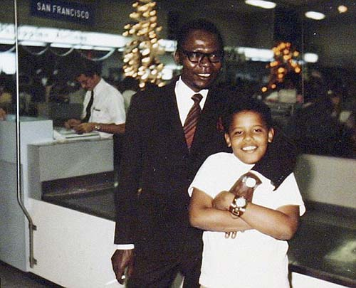 Little Barack Hussein Obama with his Kenyan Dad. Why did he have to lie?