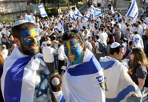 Thousands of Israelis take part in the annual flag parade, celebrating Jerusalem Day in the streets of Jerusalem.