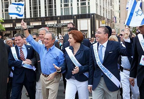 Mayor Michael R. Bloomberg, City Council Speaker Christine C. Quinn and Grand Marshal Joseph Sitt at the Annual Israel Parade.