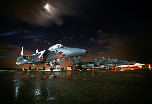 Row of IAF Aircraft in the Moonlight