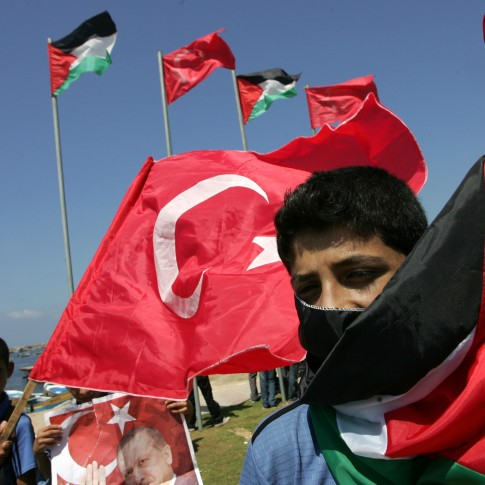 Palestinian and Turkish flags