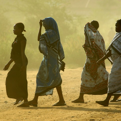 African women seen walking in South Sudan