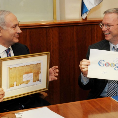 Israeli Prime Minister Benjamin Netanyahu meets with executive chairman of Google, Eric Schmidt, in Jerusalem.