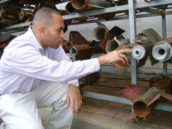 Hakeem Jeffries looking at rockets fired on Sderot, Israel.
