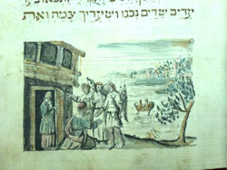 Sarah & 3 Angels (detail) (1757) ink & watercolor on parchment by Nathanel ben Aaron Segal Haggadah courtesy Kestenbaum & Company