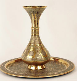 Damascene Vase & Plate (1913), Brass, silver & copper. Bezalel School Moldovan Family Collection